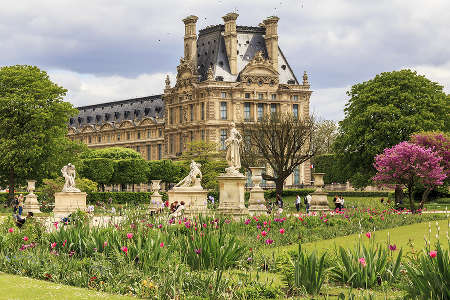 Tuileries garden near palace of the Louvre Museum, Paris, France