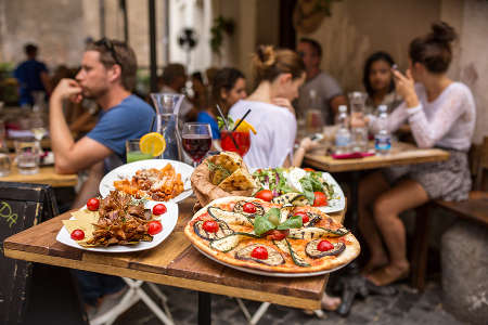 Outdoor restaurant in Trastevere District, Rome, Italy